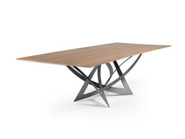 Tavolo da pranzo rettangolare in acciaio inox e legno INFINITO | Tavolo in legno