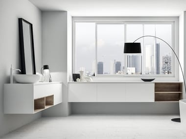 Wall-mounted HPL vanity unit with drawers INFINITY 10