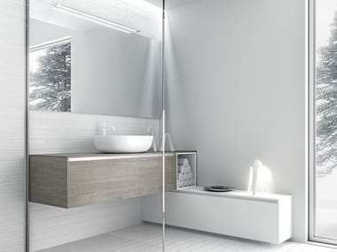 Wall-mounted HPL vanity unit with drawers INFINITY 12