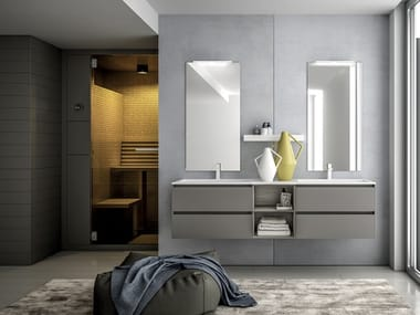 Double wall-mounted HPL vanity unit with drawers INFINITY  13