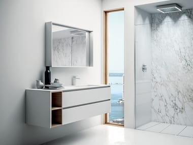Wall-mounted HPL vanity unit with drawers INFINITY 14