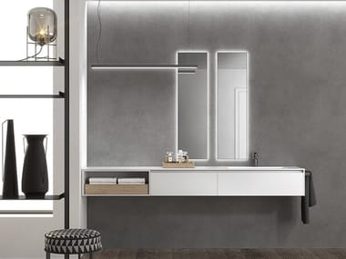 Double wall-mounted vanity unit with drawers INFINITY 15