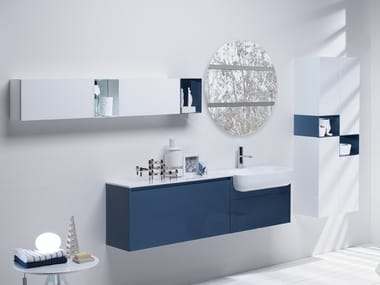 Wall-mounted HPL vanity unit with drawers INFINITY 2A