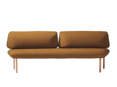 Upholstered fabric bench seating with back INSULA 451AA