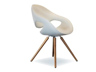 Integral polyurethane foam chair with wooden base MOON | Integral polyurethane foam chair