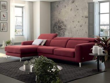 Divano reclinabile in tessuto con chaise longue INVITO 03