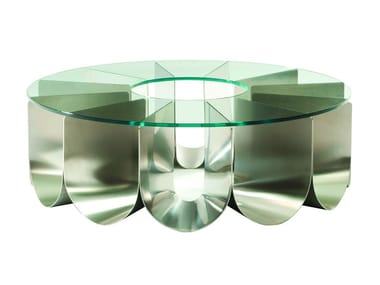 Round glass and steel coffee table for living room IRIDE