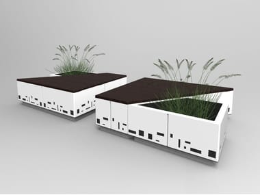 Galvanized steel Bench with Integrated Planter ISOLA