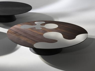 Round steel and wood coffee table for living room ISOLE | Steel and wood coffee table