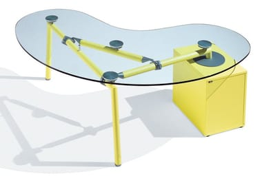 Glass office desk with drawers ISOTTA | Office desk