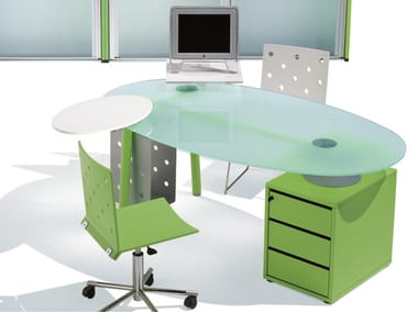 Oval glass office desk with drawers ISOTTA | Oval office desk