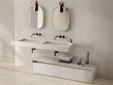 Double rectangular wall-mounted porcelain stoneware washbasin DOUBLE FLAT