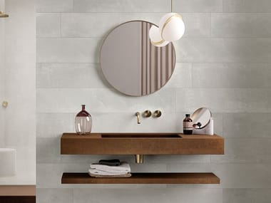 Rectangular single wall-mounted porcelain stoneware washbasin GROOVE