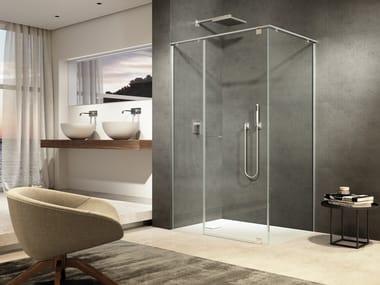Corner tempered glass shower cabin IUNIX | Corner shower cabin