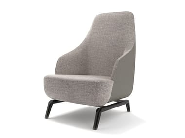 Bergere upholstered fabric armchair with armrests JANET | Bergere armchair