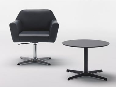 Height-adjustable leather chair with 4-spoke base JAPAN 15.000 BG