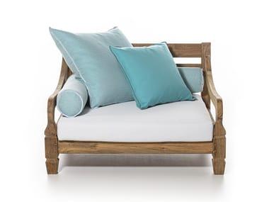 Upholstered teak garden armchair with armrests JEKO 01