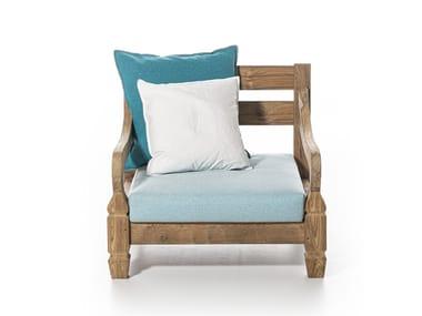 Garden upholstered teak easy chair with armrests JEKO 05