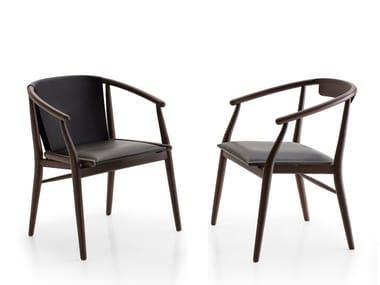 Upholstered leather chair with armrests JENS | Chair with armrests