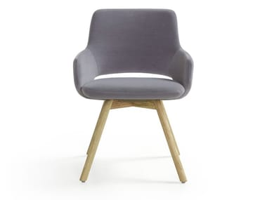 Fabric chair with woonden legs JIMA   Chair with armrests
