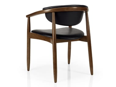 Leather restaurant chair with armrests JOANNA | Chair with armrests