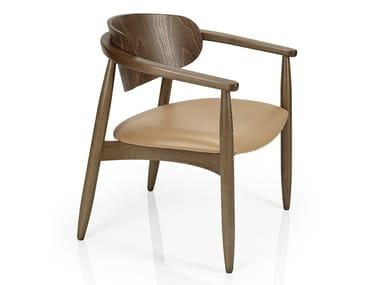 Cadeira de madeira de restaurante com braços JOANNA | Cadeira de restaurante