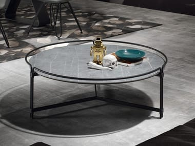 Low round ceramic coffee table JOIN | Round coffee table
