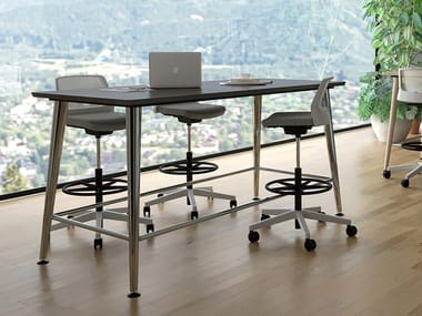 Wood veneer office desk / table JOY | High table