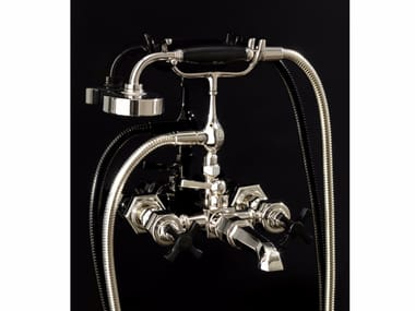 Wall-mounted bathtub tap with hand shower JUBILEE BLACK CROSS | Wall-mounted bathtub tap