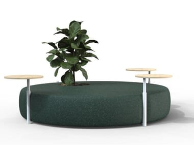 Upholstered seat with tables and pot JUPITER
