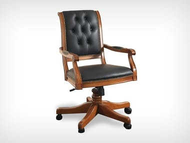Swivel leather chair with armrests K 10519 | Swivel chair