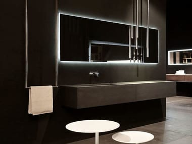 Single wall-mounted vanity unit with drawers K.KUBE CEMENTO NERO