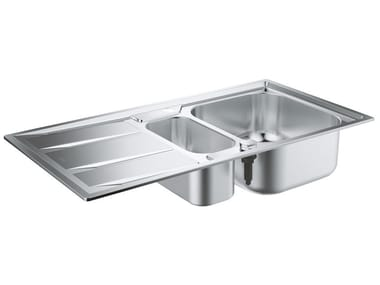 Lavello a una vasca e mezzo da incasso in acciaio inox con gocciolatoio K400 - 31567SD0 | Lavello a una vasca e mezzo