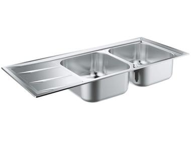 Lavello a 2 vasche da incasso in acciaio inox con gocciolatoio K400 - 31587SD0 | Lavello a 2 vasche