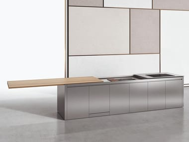 Stainless steel and wood kitchen with island K5