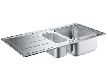 Lavello a una vasca e mezzo da incasso in acciaio inox con gocciolatoio K500 - 31572SD0 | Lavello a una vasca e mezzo