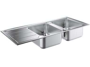 Lavello a 2 vasche da incasso in acciaio inox con gocciolatoio K500 - 31588SD0 | Lavello a 2 vasche