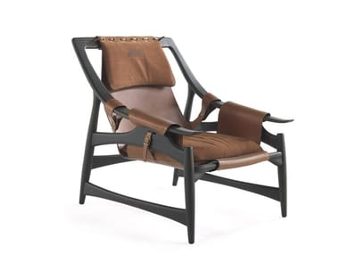Solid wood and leather armchair with armrests KALAMAJA