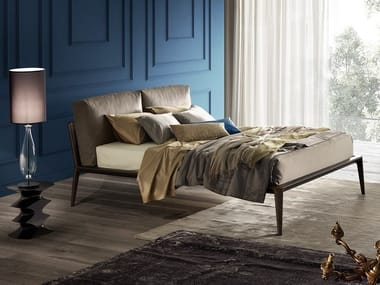 Double bed with removable cover with upholstered headboard KALE'