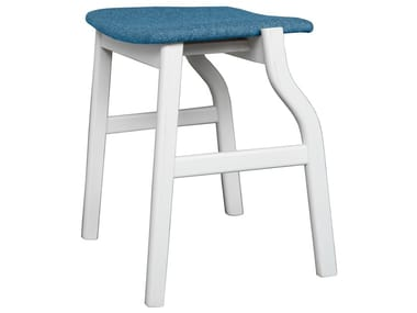 Low wooden stool with integrated cushion KALEA | Stool with integrated cushion