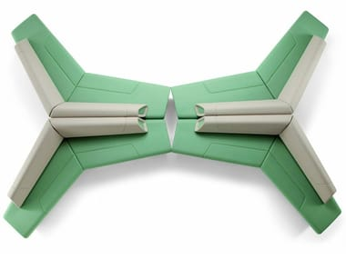 Panca in pelle con schienale KALEIDO | Panca con schienale