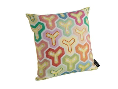 Motif square fabric cushion with removable cover KAME | Square cushion