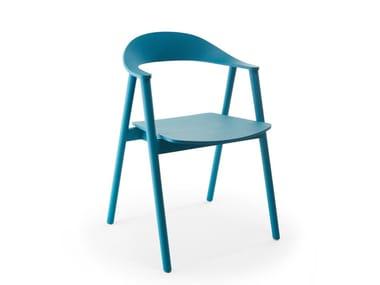 Sedia in multistrato con base in massello di frassino KARM