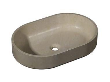Vasque à poser ovale en pierre naturelle KARON | Lavabo ovale