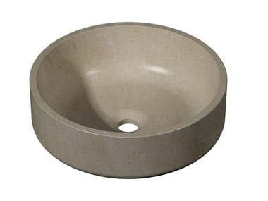Countertop round natural stone washbasin KARON | Round washbasin