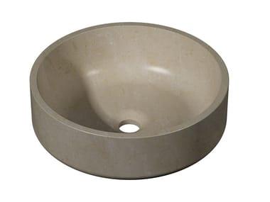 Vasque à poser rond en pierre naturelle KARON | Lavabo rond