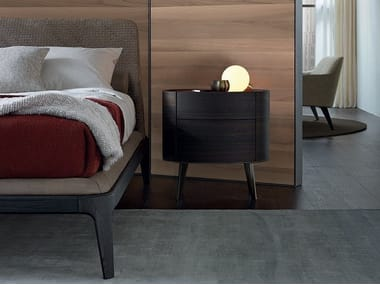 Oval wooden bedside table with drawers KELLY | Bedside table