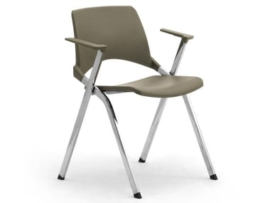 Chrome plated steel and polypropylene chair with armrests KEY OK | Polypropylene chair