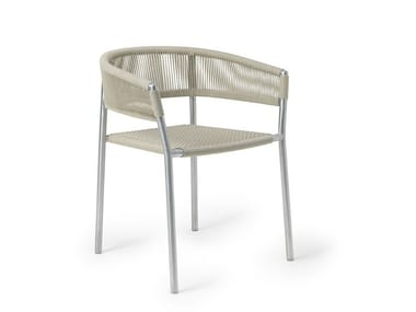 Stackable rope garden chair KILT | Stainless steel chair
