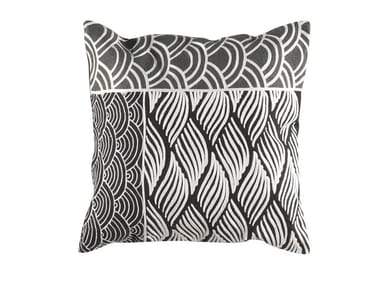 Square hand embroidered wool cushion KIMONO | Square cushion